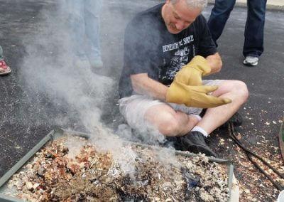 Alan Tending Fish During Reduction