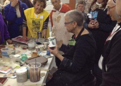 Linda demonstrates Majolica glaze application techniques